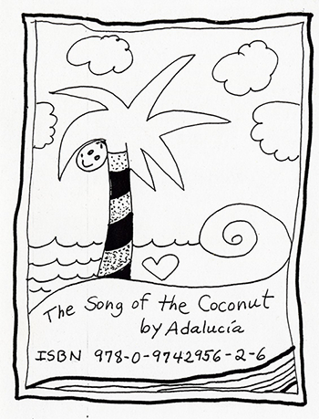 A  black and white drawing of a palm tree, near the water, with a coconut, it also has the ISBN numbers for the book.